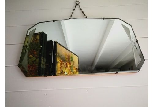 Art Deco Wall Mirror  Bevelled Mirror Vintage Mirror With Glittery Semi Translucent Panels