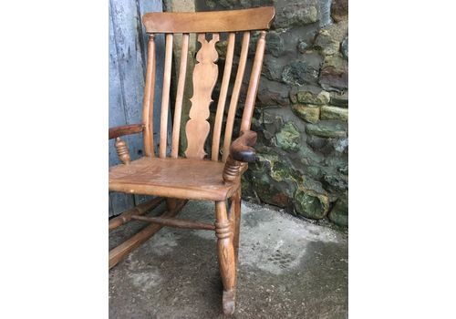 Pine/ Fruitwood Farmhouse Rocking Chair