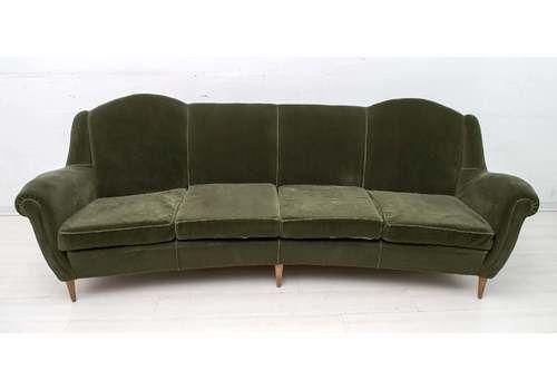 Mid Century Modern Italian Velvet Curved Sofa, 1950s