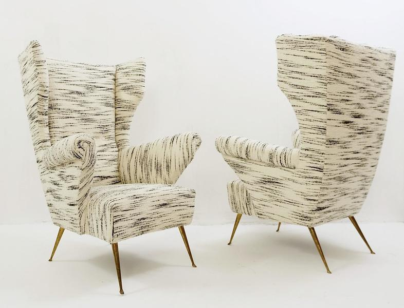 Pair Of Italian High Back Armchairs   Newly Upholstered
