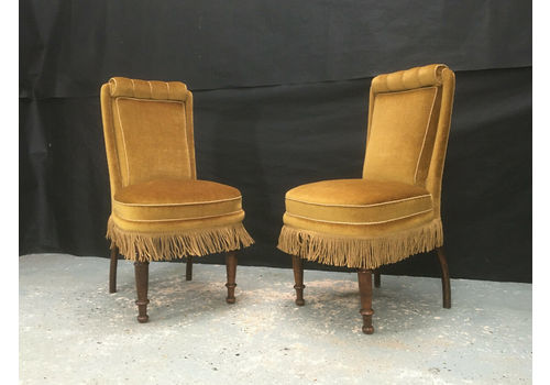 Pair Of Gold Fringed Velour Lounge Chairs Vintage Retro Hall Seating