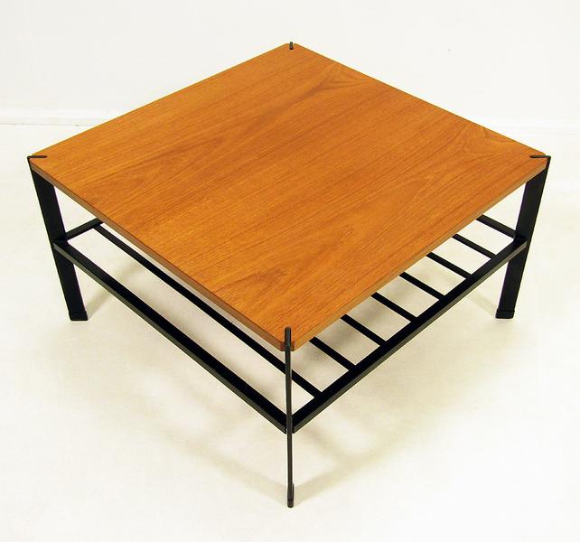 1960s Modernist Teak And Steel Coffee Table
