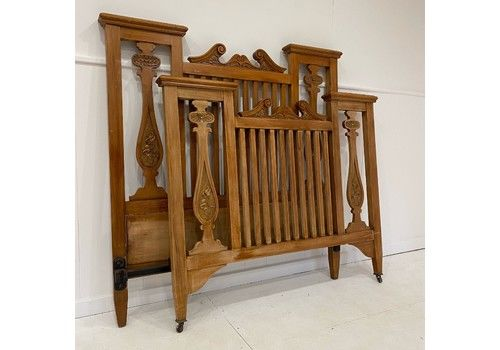 Double Walnut Wood Arts And Crafts Bed
