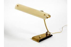 Thumb very rare mid century modern brass desk lamp with a plexiglass shade and plug in bulb 0