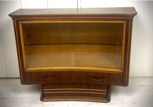 Curved Art Deco Side Board With Glass Sliding Panels