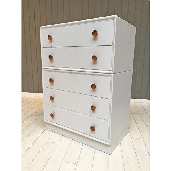 Mid Century Chest Of Drawers In French Grey