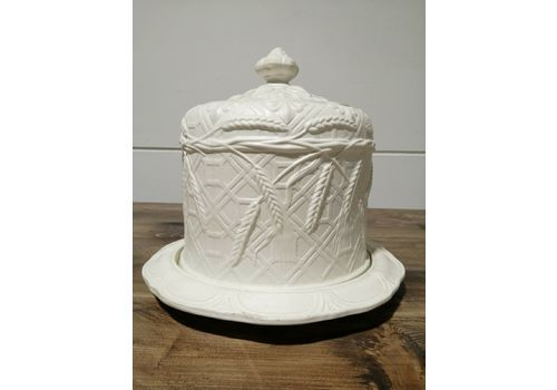 Antique Victorian Large Cheese Dome Embossed Wheat And Barley On Stand