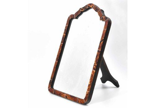 Early 20th Century Tortoiseshell Easel Backed Shaped Table Mirror