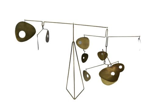 Movable Golden Brass Kinetic Sculpture In The Style Of Calder