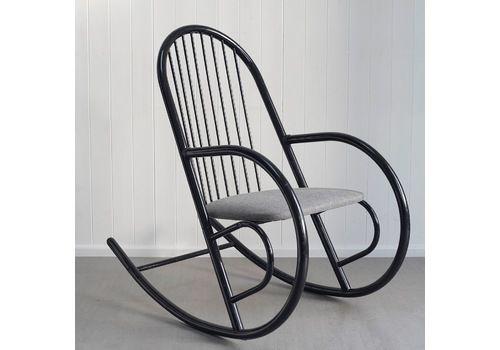 Vintage 1980s Postmodern Tubular Metal Rocking Chair // Mid Century Modernist Style