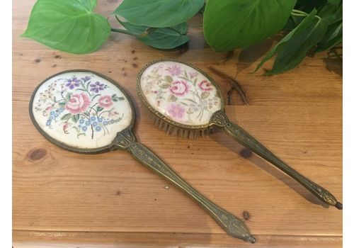Vintage Mid Century Brass & Embroidery Dressing Table Hand Mirror & Hairbrush Set