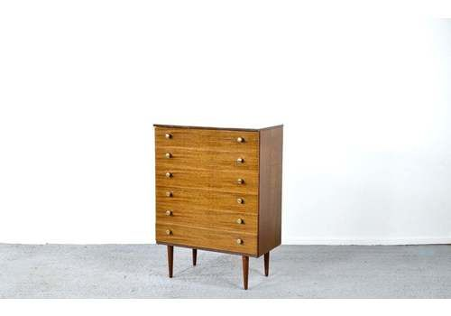 Midcentury Chest Of Drawers / Tallboy In Teak From Schreiber. Vintage Modern / Danish Style.