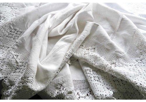 Stunning White Linen Tablecloth, Crochet Border