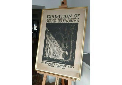 Original Sir Frank Brangwyn 1924 Exhibition Lithograph Poster 184 Queen's Gate