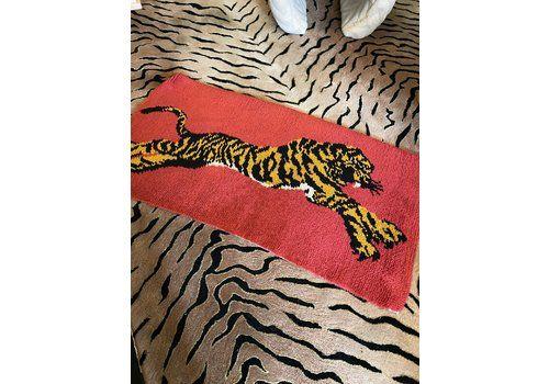 1960s Pink Tiger Print Rug ~ 100% Wool