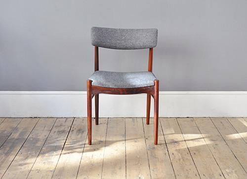 Set Of Four Rosewood Grey Dining Chairs photo 1