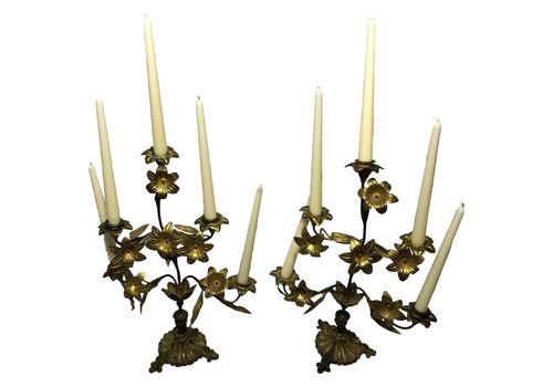 Set Art Nouveau French Gilt Bronze Ormolu 5 Branch Candelabra's Sculptures Table Lighting Wax Candles