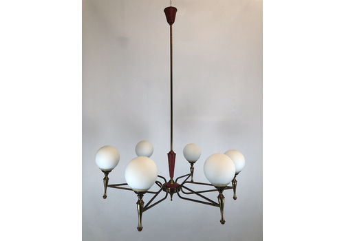 Large Stilnovo, Vintage Italian Red And Gold Chandelier From 50s