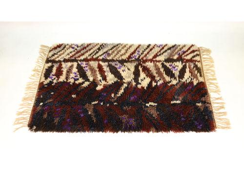 Vintage Wool Swedish Rya Rug In Autumn Colours 1960s