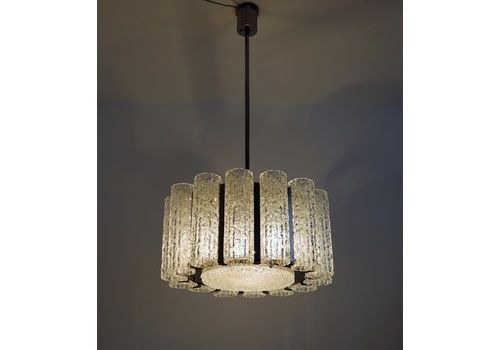 Midcentury Barovier Toso Murano Ice Glass Chandelier With Chrome Frame, 1960s