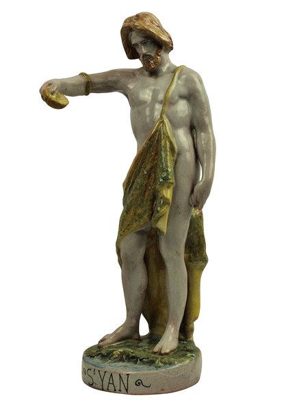 A Spanish Majolica Statue Of John The Baptist