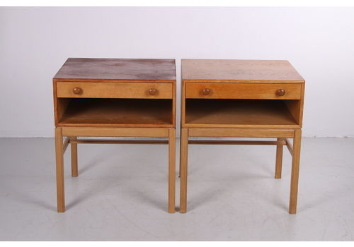 Swedish Design Bedside Table Set With Drawer And Wooden Handles