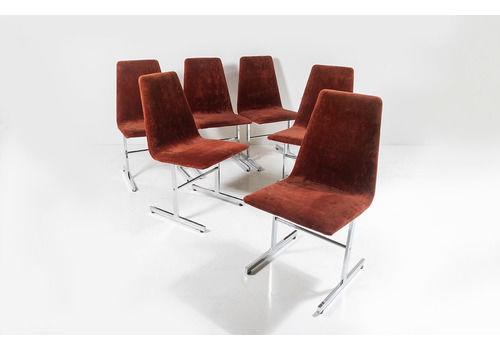 A Set Of Six Original Pieff 'Lisse' Collection Dining Chairs From The 1970s | Chrome Chairs