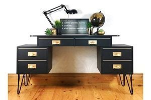 Thumb desk with floating top from the 1960s vintage retro black and gold mid century office desk retro design 0