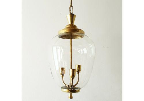Lustre Suspension Lanterne Vintage 1950 En Verre & Laiton Dore 50s Rockabilly