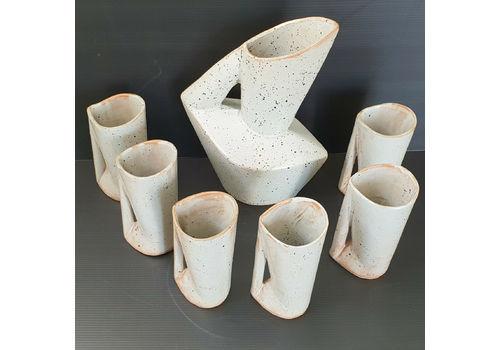 Magnificent Modernist Orangeade Service In Vintage Ceramic Stoneware 1950