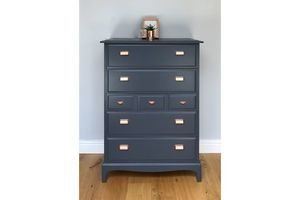 Thumb stag tallboy painted blue copper handles 1980s 0