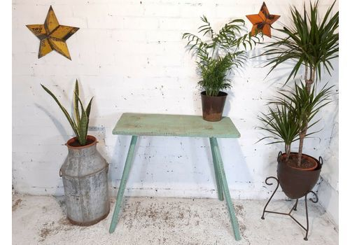 Hand Made Primitive Green Wooden Side Console Table