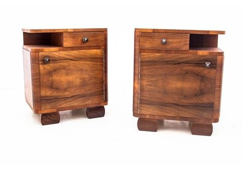 Art Deco Bedside Tables, Poland, 1960s