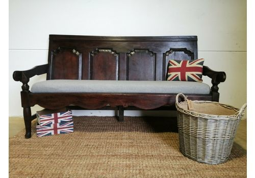 Antique 19th Century Large Solid Oak Bench Settle Pew