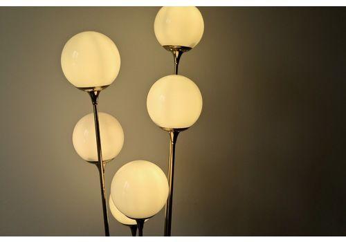Vintage Midcentury Italian Stilnovo 'Alberello' Floor Lamp In Brass, Carrara Marble And Opaline. Very Rare Item