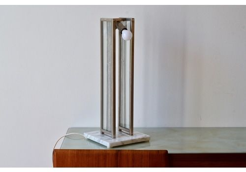 Italian Art Deco  Marble, Steel And Glass Table Lamp. Handmade Vintage / Modern / Retro.