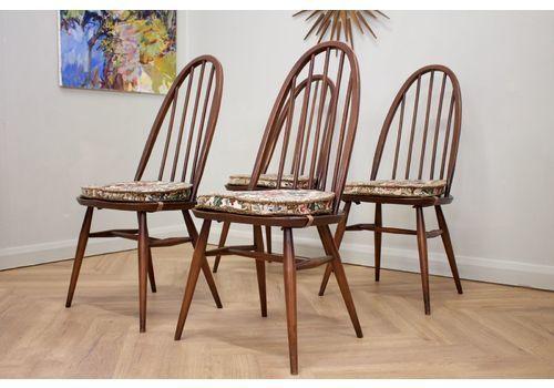 Mid Century Retro Set Of 4 Ercol Quaker Dining Chairs