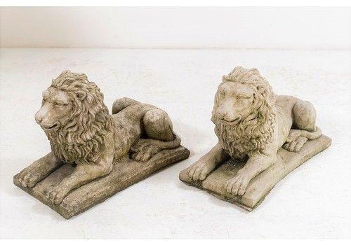 A Pair Of Small Recumbent Lions   Garden Ornaments   Lion Statue   Garden Sculptures