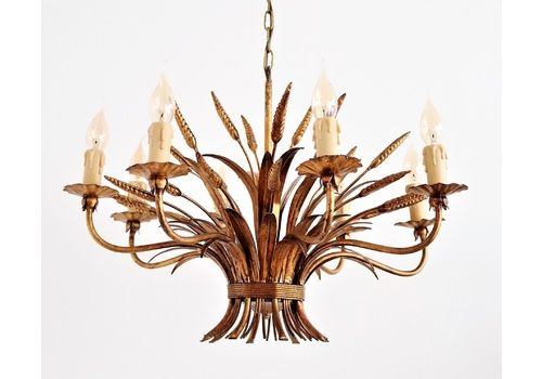Gilt Eight Arm Midcentury Chandelier With Wheat And Leaves By Hans Kögl, 1960s