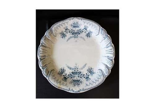Antique French Ceramic Large Platter, Large Plate, Saint Amand Hamage Nord Regence France, Terre De Feu, Blue Gray