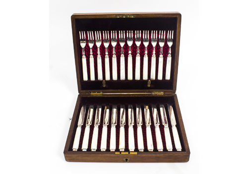 Antique Boxed Set 12 Pairs Silver & Mother Of Pearl Fruit Forks & Knives 1892
