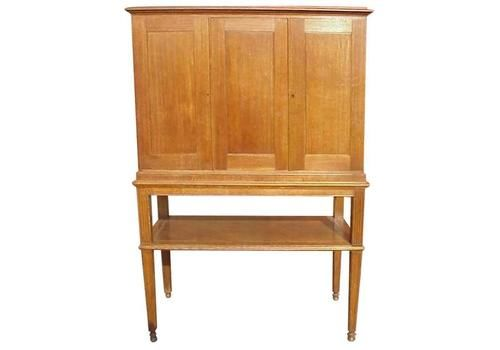 C F A Voysey Style Of, Arts & Crafts Oak Cupboard With Lower Open Display Area