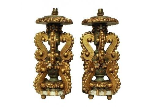 A Pair Of Unusual Genoese Gilt Wood Lamps