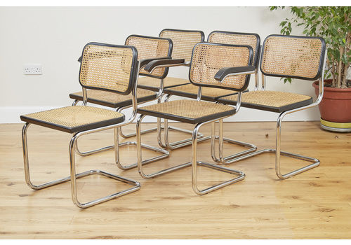 1960s Marcel Breuer Cesca Dining Chairs, Set Of 6 Including 2 Carvers, Manufactured By Gavina
