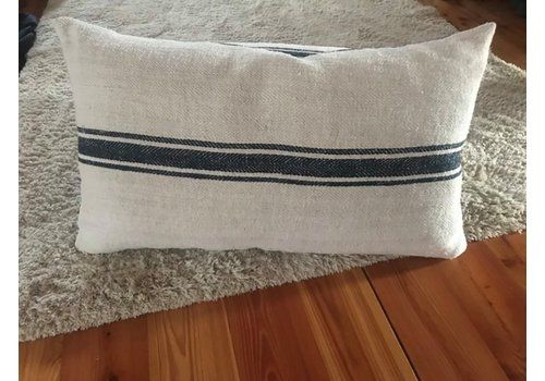Mid Century Hungarian Grain Sack & Linen Pillows With Navy Stripe, Set Of 2