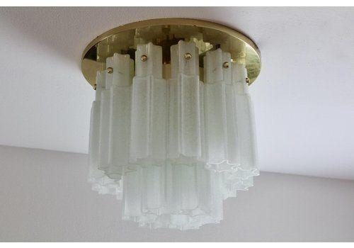 Large Brass & Frosted Glass Star Flush Mount From Glashütte Limburg