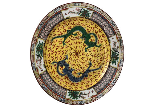 Fine Chinese Porcelain Round Green & Blue Dragons Imperial Style Yellow Porcelain Charger