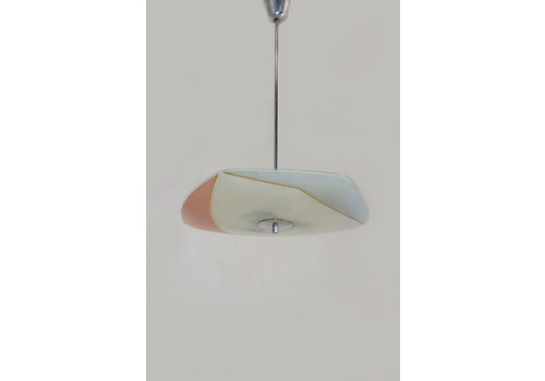 Mid Century Pink & Grey Glass Pendant Lamp From Napako, 1960s