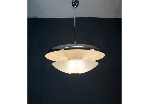 Bauhaus Nickel Plated Chandelier By Napako, 1940s