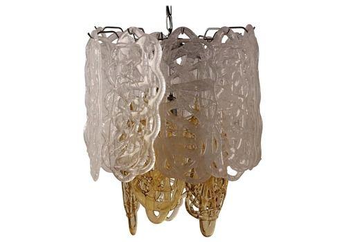 Mid Century Modern Italian Glass Pendant Light By Mazzega
